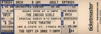 INDIGO GIRLS 2002 BECOME YOU TOUR UNUSED ITHACA, N.Y.  CONCERT TICKET / NM 2 MNT