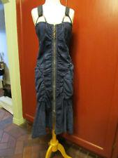 Marithe Francois Girbaud denim dress Sz M/L RARE ZIP FRONT RUCHED SUSPENDER
