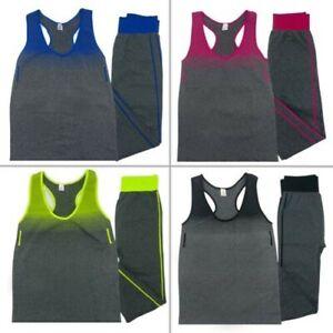 Womens Ladies Sportswear Set Activewear Track Suit Vest Top Leggings Gym Fitness