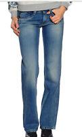 Women's Pepe Jeans Olympia Low Waist Straight Leg Comfort Fit Blue Denim