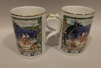 2 James Sadler Famous Mallard Steam Locomotive Train Scene Fine Bone China Mugs