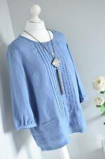 BNWOT NEW POETRY Blue PURE LINEN loose lagenlook arty boho blouse 10