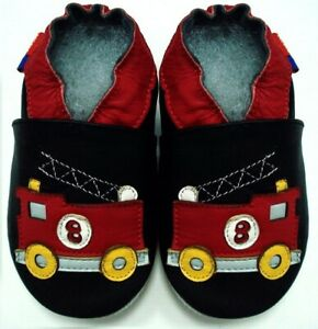 minishoezoo soft sole leather baby shoes fire truck black 18-24 m free shipping
