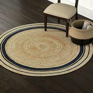 Jute Rug Black Line Round Handmade Carpet Reversible Braided Modern Rustic Look