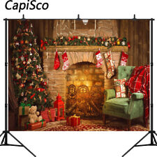 Indoor Fireplace Merry Christmas Background Xmas Tree New Year Photo Backdrops