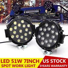 7inch Round Led Offroad Lights 51W ATV UTE SUV Bumper Fog Pods Driving Spot Pair