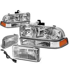 CHROME CRYSTAL HEADLIGHT+AMBER CORNER SIDE+FOG LAMP+SWITCH FOR 98-04 CHEVY S10