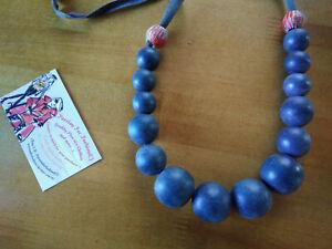 ELK - Melb Brand -Grey & Grey Orange feature beads - Wooden Beaded Necklace #8