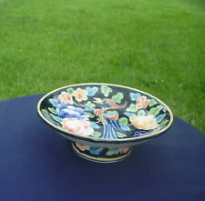 Quangs Ceramics Vietnam Black w Multi Color Floral Fancy Bird Pedestal Dish Bowl