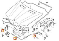 BMW NEW GENUINE X5 E53 BONNET ENGINE HOOD FRONT LOCK RELEASE CABLE SET OF THREE