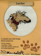 14ct Counted Cross Stitch Kit - Mouseloft - Paw Prints - Lurcher Dog Counted