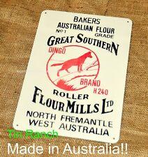 DINGO FLOUR TIN SIGN north fremantle vintage bag art WESTERN AUSTRALIA retro old