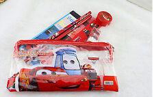 12Sets Disney cars kids PVC Pencil Bag Ruler Netbook Eraser Stationery Set 7in1