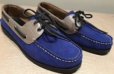 Simple Sewn Men's Boat Shoe Blue/Grey  Sz 43 USA 10