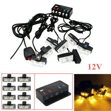 8X 2 LED Amber Light Grill Construction Utility Flash Hazard 12V with Controller
