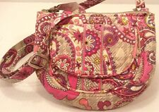 Vera Bradley Paisley Meets Plaid Shoulder Crossbody Bag ID Purse Pink Gray EUC