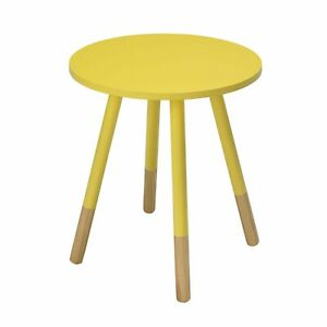 """Costa Painted Round Side Lamp Small Table Wood In Yellow """"Brand New Boxed"""""""