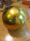 "Large Antique 19th century Mercury Glass Kugel Christmas Ornament Gold 4.5"""