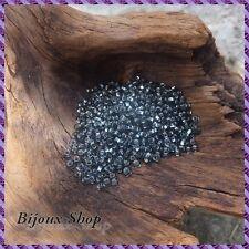 50 grs de Perles de rocailles 2,1mm, Anthracite  Lined, Marque ORNELLA