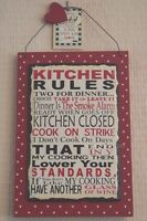 """Red Slate Wall Plaque """"Kitchen Rules"""" Humourous Sign 18cm F1550A"""