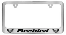 Pontiac Firebird Two Logos Chrome Plated Metal License Plate Frame Holder