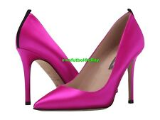 NEW SJP Womens by Sarah Jessica Parker Fawn Satin Pointed-Toe Pump Fuchsia 7