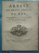 ARRET 1731 : CONDAMNATION MARCHANDS / ARTISANS Te deum naissance Dauphin, 25 pp.