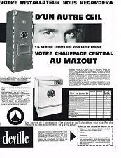 PUBLICITE ADVERTISING 094  1967  DEVILLE   chauffage mazout  colonne & générateu