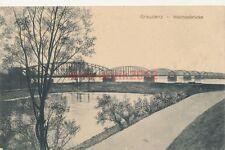 Ak Grudziądz Graudenz Westpreußen, Weichselbrücke, 1915, (G)1133