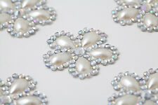 CB060 - 12 Pearl & Diamante Self Adhesive Stick on FLOWER Gems Wedding CRAFT