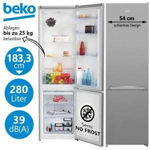 Kühl Gefrierkombination Kühlschrank NoFrost Kombi 181cm freistehend Silber 280L