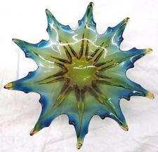 Murano Art Glass Star Style Design ~ Blue & Gold Large Dish/Bowl
