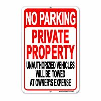 No Parking Private Property sign Aluminum Metal Unauthorized Towed Away signs