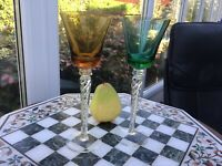 "RARE PAIR Vintage STUART Air twist Harlequin bowl 8"" Wine glass AIR TWIST 🎁"