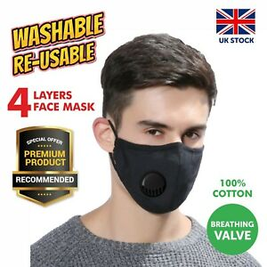 Glasses Wearers Face Masks with Nose Wire 4 Layers Cotton Washable Filter Pocket