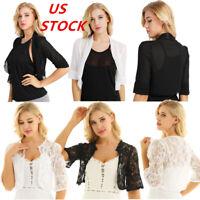 US Womens Half Sleeve Bolero Shrug Coat Chiffon Lace Jacket Crop Tops Cardigan