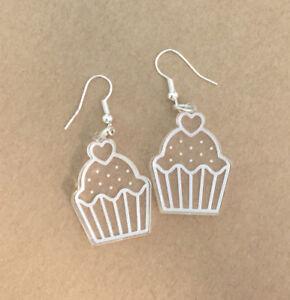 Cupcake Earrings Laser Engraved Clear Acrylic Laser Cut Sweet Gift Ideas