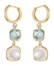 Ohrhänger Gold 585 mit Blautopas und Rosenquarz - Ohrringe Ohrstecker Gelbgold