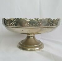 Vintage Silver Plated Tazza Pedestal Bowl Serving Dish :D7