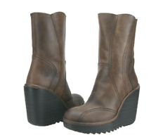 FLY LONDON CRACK BROWN LEATHER PLATFORM WEDGE PULL ON BOOTS UK 7 EUR 40 RRP £130