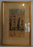 City Scene in Italy with People - Naples Napoli Rome Roma ? Unleserl. Signed