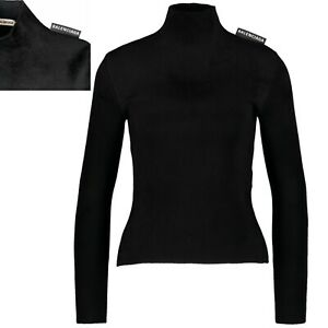 €850 NWT BALENCIAGA Black Logo Label Turtle Neck Stretch Velour Top Jumper M L