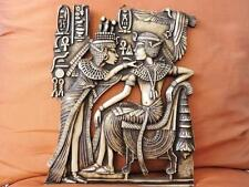 Amazing Hand Carved Antique Wall Plaque of Ancient Egyptian Tutankhamun and Wife