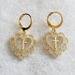 Bright yellow gold plated heart cross design dangle earrings