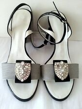 Giuseppe Zanotti Black / White Striped Patent Leather Heels W/Rhinestone Brooch