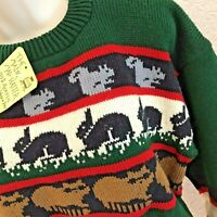 NEW Sweater Ski Chunky Medium M Womens Pullover Oversized Raccoon Bunny Squirrel