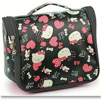 Hello Kitty Black Hanging Travel Case Cosmetic Toiletry Bag Black & Pink Hearts