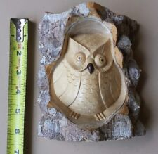 """Hand Carved Satinwood 6"""" Owl in Tree Sculpture natural bark seperation"""