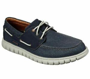 Navy Skechers Shoe Men Soft Canvas Memory Foam Slipon Comfort Boat Casual 204040