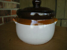 Brown Stoneware Bean Pot with Handles and Lid